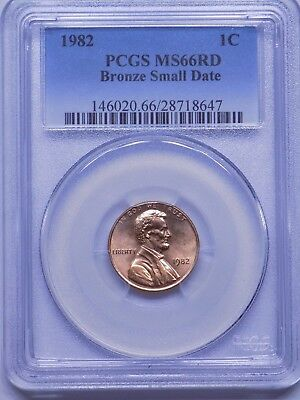 1982 Bronze Small Date Lincoln Cent, PCGS MS66 RED, VERY NICE!!