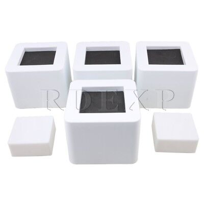 4pcs White 10.7cm Square PP Bed Tbale Risers Furniture Lifts 8.7cm Heigh