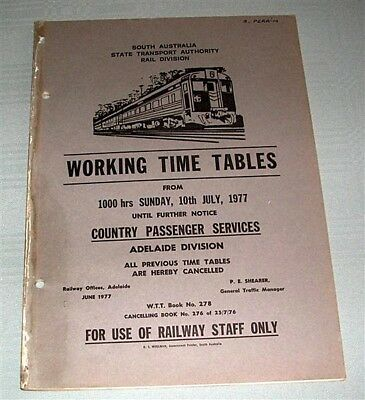 SASTA, Working Time Tables, Country Passenger Services1977, WTT278, SC book