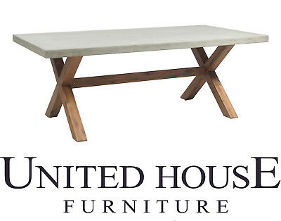 Outdoor 2m Rectangle Grey Poly Cement Dining Table Timber Wood Modern Furniture
