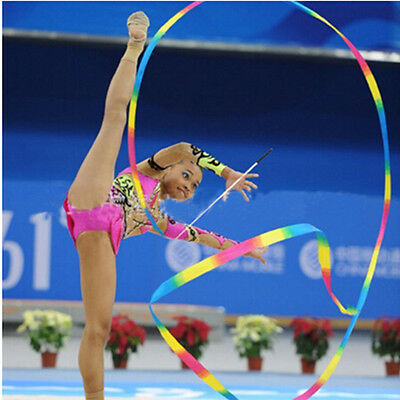 Children 4M Gym Dance Ribbon Ballet Streamer Art Gymnastic Twirling Rod Rhythmic