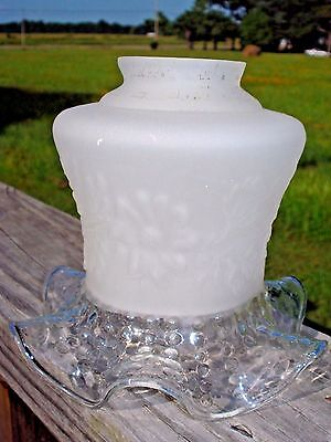 Vintage Art Deco Floral Satin Frosted / Clear Glass Light Lamp Shade-EC!!