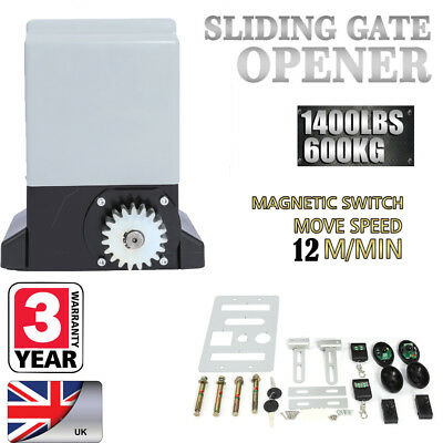 Sliding Electric Gate Opener 1400LBS Automatic Motor Remote Kit Heavy Chain