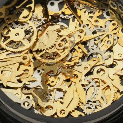 Lot Nail Art Stickers Glitter Gold Steampunk Clock Cog Parts Mix Metal Spangle