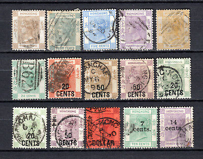 Hong Kong China 1863-1891 Qv Selection Of Used Stamps Pmk Interest