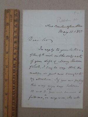 1855 Letter Richard Bentley Publisher to F A Mignet re his Mary Queen Scots Book