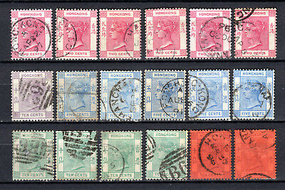 Hong Kong China 1882-1892 Qv Selection Of Used Stamps Pmk Interest