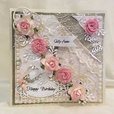 Handmade Birthday Card Mum Sister Wife Daughter Friend PERSONALISED SHABBY CHIC