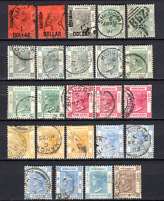 Hong Kong China 1891-1900 Qv Selection Of Used Stamps Pmk Interest