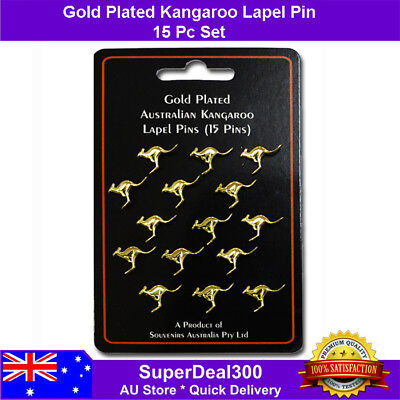 Australian Kangaroo Lapel Hat Pin - Gold Plated 15pcs Set