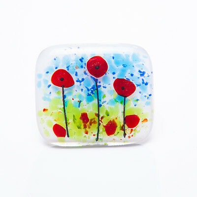 A poppies brooch fused glass handmade remembrance poppy flower jewellery jewelry