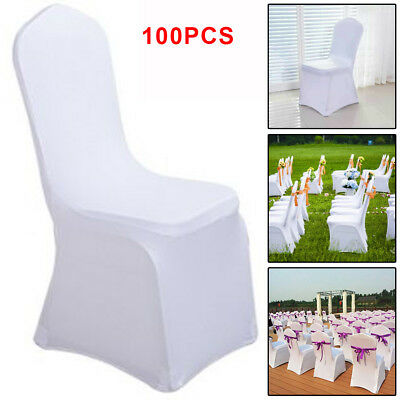 100 x White Flat Covers Spandex Lycra Chair Cover Wedding Banquet Party New