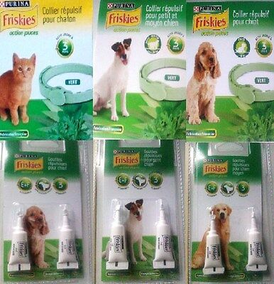 """Collier / Pipettes """"chaton/chiot"""" - Anti-Puces/tiques Friskies Neuf"""