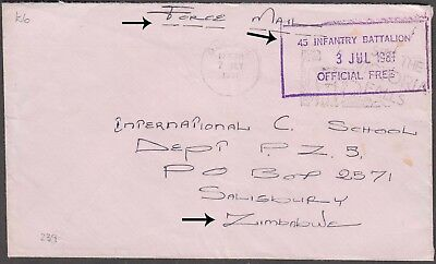 Zimbabwe Scarce Forces Mail W/ 'see The Victoria Falls' Sp. Cachet Stampless Cvr