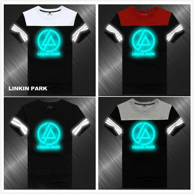 Linkin Park Band Reflective Summer Short Sleeve T Shirt Jacket Coat Cotton D