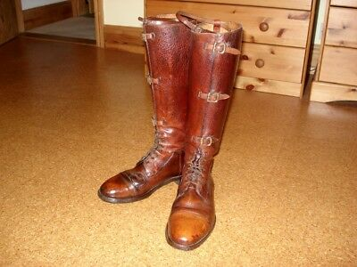 WW 1 period officer's leather long field - riding boots 3 front buckles size 8.5