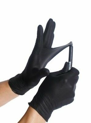 Heavy Duty Black Disposable Latex Powder Free Gloves 500 PCS Large 5 mil Thick