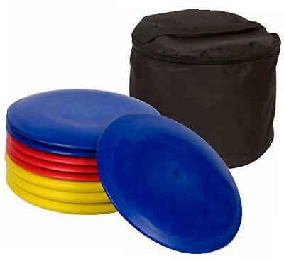 metal disc frisbee golf goal set comes with 6 discs
