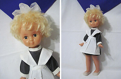 Russian Vintage School Girl/Pupil Doll,Plastic,Original,Luch Factory, USSR