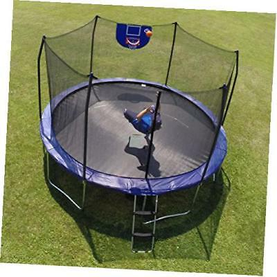 jump n' dunk with safety enclosure and basketball hoop, blue, 12-fee