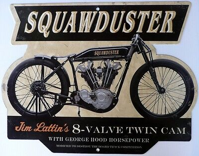 Squawduster 8- Valve Twin Cam Boardtracker. All Weather Metal Sign