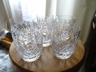 Set of 6 vintage lead crystal half tumblers/whisky glasses 300ml
