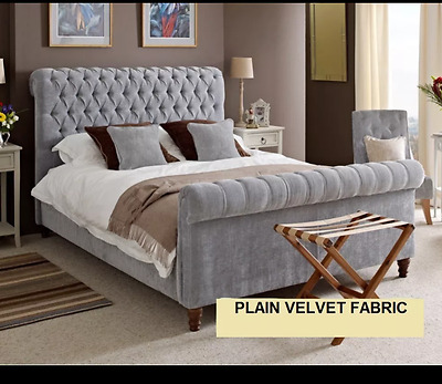 Chesterfield Sleigh Bed Frame Upholstery Double Kingsize Fabric Bedstead Sale!