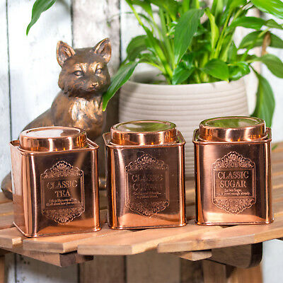 Copper Rose Gold Coloured Tea Coffee Sugar Canisters Storage Jars Containers