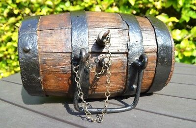 Coopered double bunged oak cider costrel mid c19th Welsh Rustic