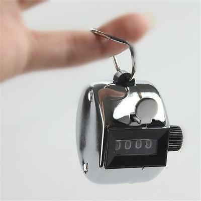 Hot*4 Digit Chrome Tally Counter Hand Held Clicker Palm Golf People Counting#New