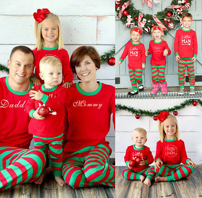 Family Matching Christmas Pajamas Set Mom Dad Kid Stripe Sleepwear Nightwear Pjs