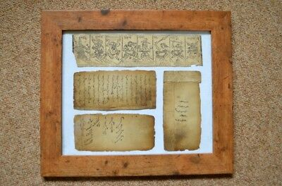 Unusual very old framed Mongolian parchment – gods and devils