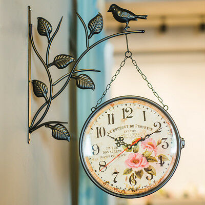Antique Double Sided Wall Mounted Hanging Clock Home Outdoor Hallway Wall Clock