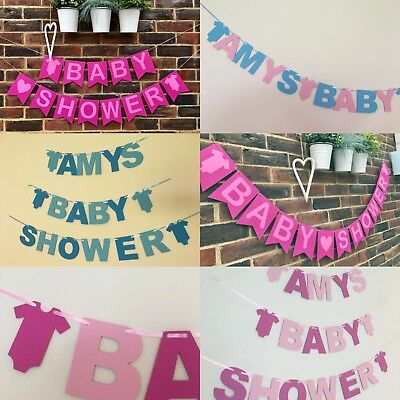 Personalised Baby Shower BANNER boy girl pink blue decorations bunting Handmade