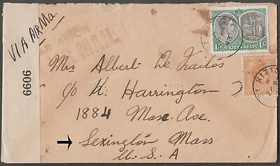 St. Kitts Nevis Scarce 1943 Examined Airmail Cover W/2 Val To Lexington Mass Usa