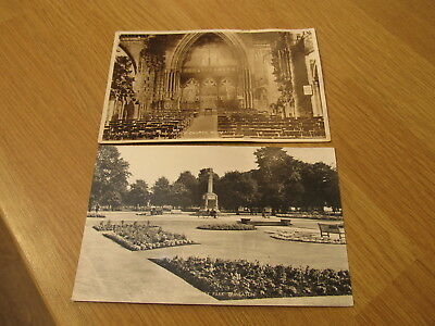 TWO Old Nuneaton Postcards Riverseley Park & St Mary, The Virgin & Abbey Church