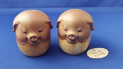 Rare Vtg Stoneware Happy Pig Salt Pepper Shakers By Giftcraft With Hang Tag Ec
