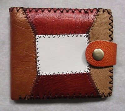 REAL TAN LEATHER PATCHWORK VINTAGE WALLET BI-FOLD CARDS NOTES ID 1980s 1990s