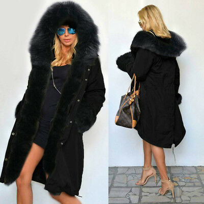 Womens Warm Long Coat Black Hooded Quilted Jacket Slim Winter Parka Outwear