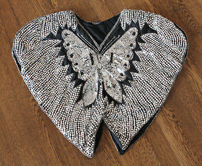 VTG 70s Valachi Creations Shirt Glam Disco Butterfly Top Indian Silk Sequin Boho