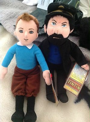 Ty Tintin And Captain Haddock  Beanie Dolls BNWT