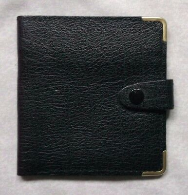 REAL LEATHER BLACK VINTAGE WALLET BI-FOLD CARDS NOTES 1970s 1980s BRITAIN MADE
