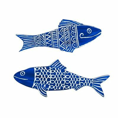 "New 13""L Set of 2 Blue/White Fish Wood Plaques Nautical Decor"