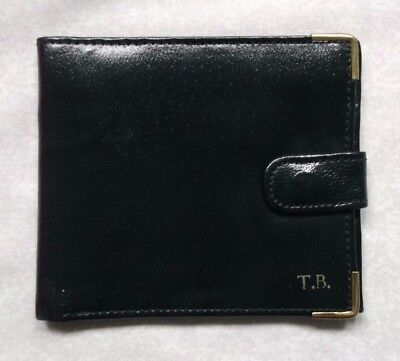 REAL LEATHER BLACK VINTAGE WALLET BI-FOLD CARDS NOTES 1980s 1990s