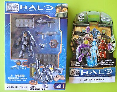 New Halo Mega Bloks 96946 Unsc Weapons Pack + 96978 Series 4 Figure Pack