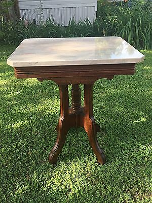 Victorian Eastlake Marble Top Table- Circa 1880