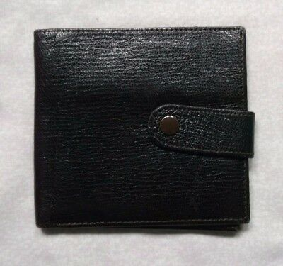 REAL LEATHER DARK BROWN VINTAGE WALLET BI-FOLD CARDS NOTES 1970s 1980s SPANISH
