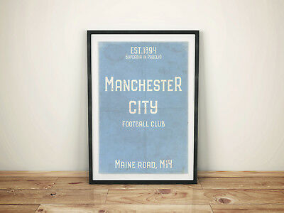 Maine Road Man City FC White A4 Picture Art Poster Retro Vintage Style Print