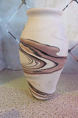 "Vintage NEMADJI Pottery Large 11"" Art Vase Hand Made & Painted USA Desert Clay"