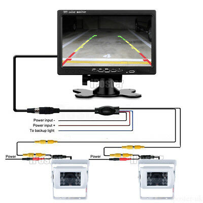 Dual White Caravan Rear View CCD Color Camera 18 IR LED+7 Inch Rear View Monitor